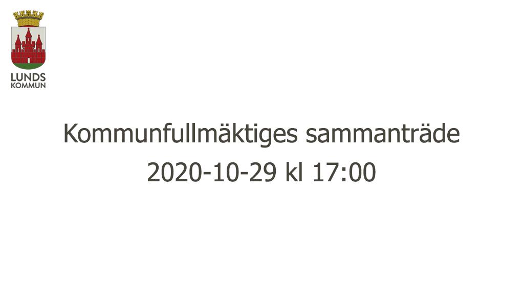 Kommunfullmäktiges sammanträde 2020-10-29