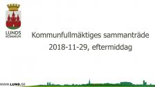 Kommunfullmäktiges sammanträde 2018-11-29 Eftermiddag