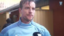 Eric Larsson efter träningsmatchen mot Mjällby AIF