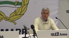 Presskonferensen efter Hammarbys seger i premiären