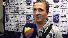 Matchvinnaren intervjuas av matchens lirare